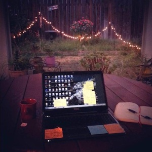 Kate Asche's back porch home office